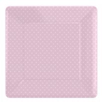 Pink Polka Dot Square Paper Plates (8)